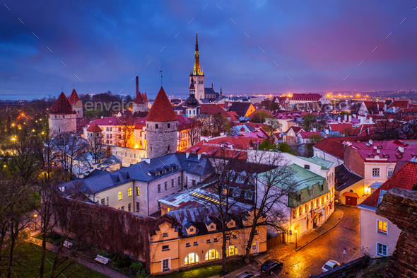 Tallinn Medieval Old Town, Estonia - Stock Photo - Images