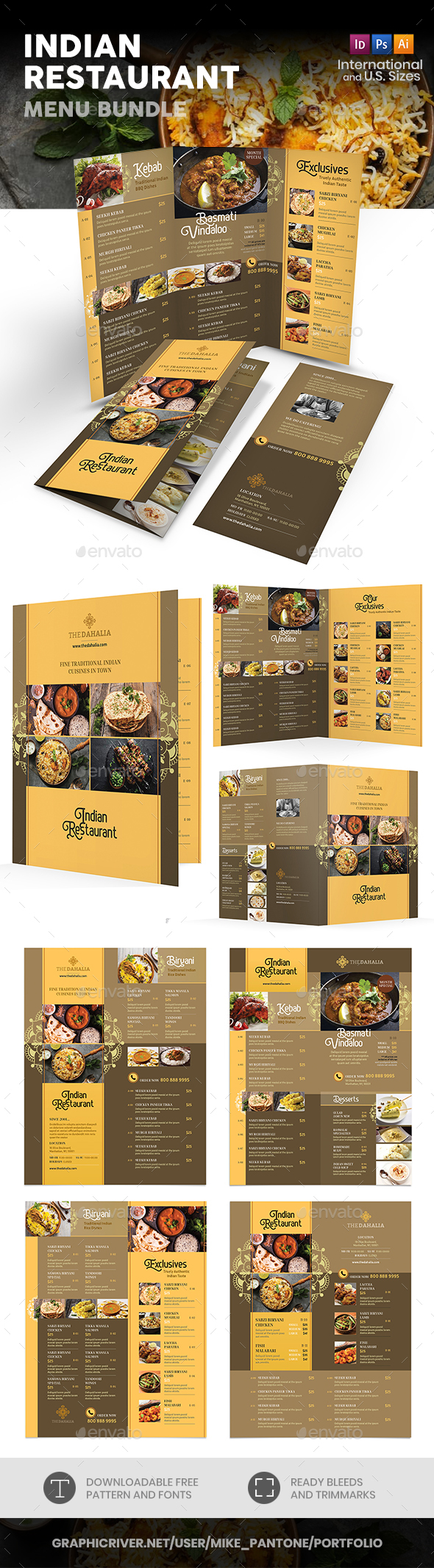 Indian Restaurant Menu Print Bundle 2 - Food Menus Print Templates