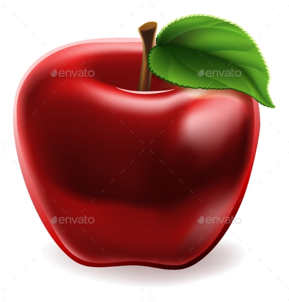 Cartoon Red Apple Icon - Food Objects
