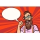 Stylish Bearded Hipster with Glasses Enraged