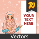Muslim Woman Pointing Finger to The Left Side at Copy Space - GraphicRiver Item for Sale