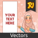 Muslim Woman Pointing Finger to The Right Side at Copy Space - GraphicRiver Item for Sale