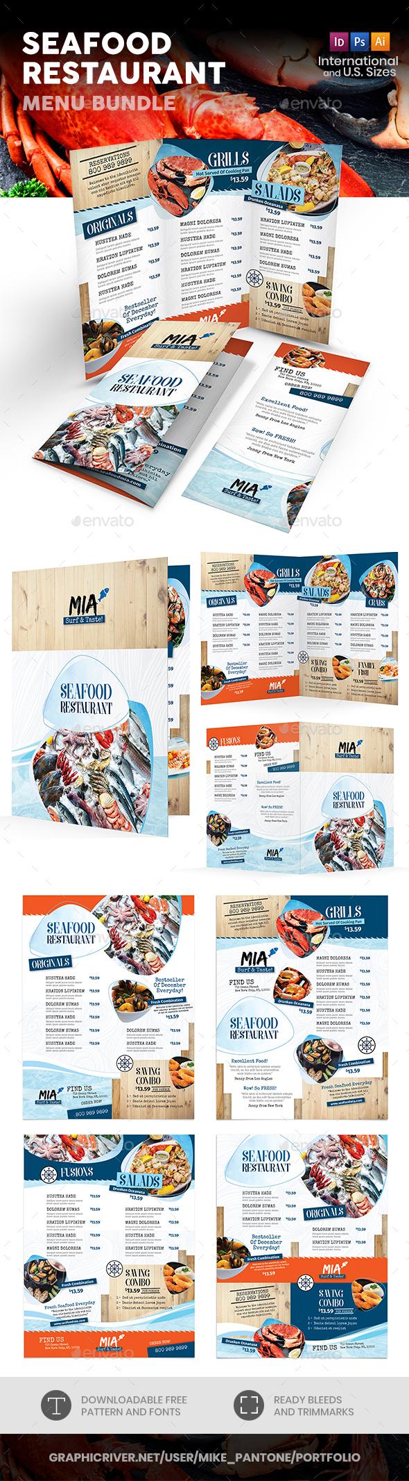 Seafood Restaurant Menu Print Bundle 3 - Food Menus Print Templates
