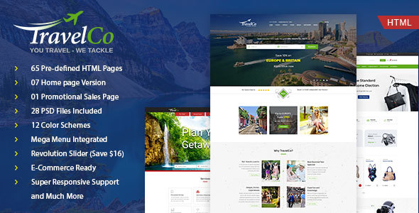 Image of Travel Co: Tourism, Tour and Hotel booking HTML5 Template