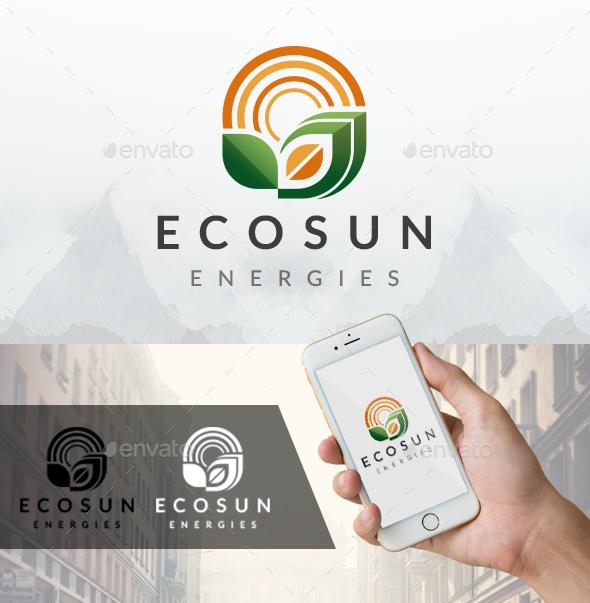 Eco Sun Waves Logo - Nature Logo Templates