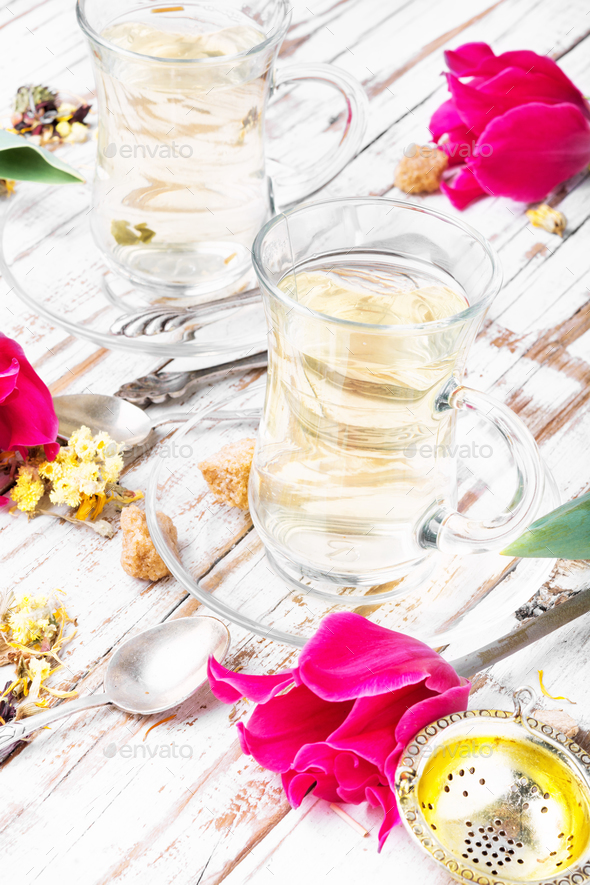 Herbal tea and spring tulip - Stock Photo - Images