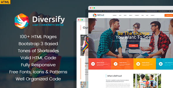 Image of Diversify - LGBT Community HTML Template