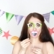 Young Happy Woman at Party, Holiday, Birthday,festival, Masquerade. Decor for - VideoHive Item for Sale