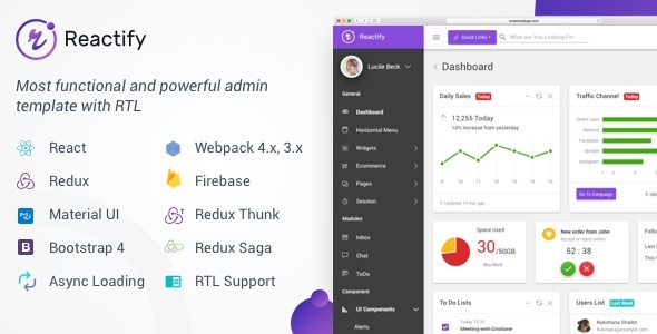 Image of Reactify - React Redux Material BootStrap 4 Admin Template