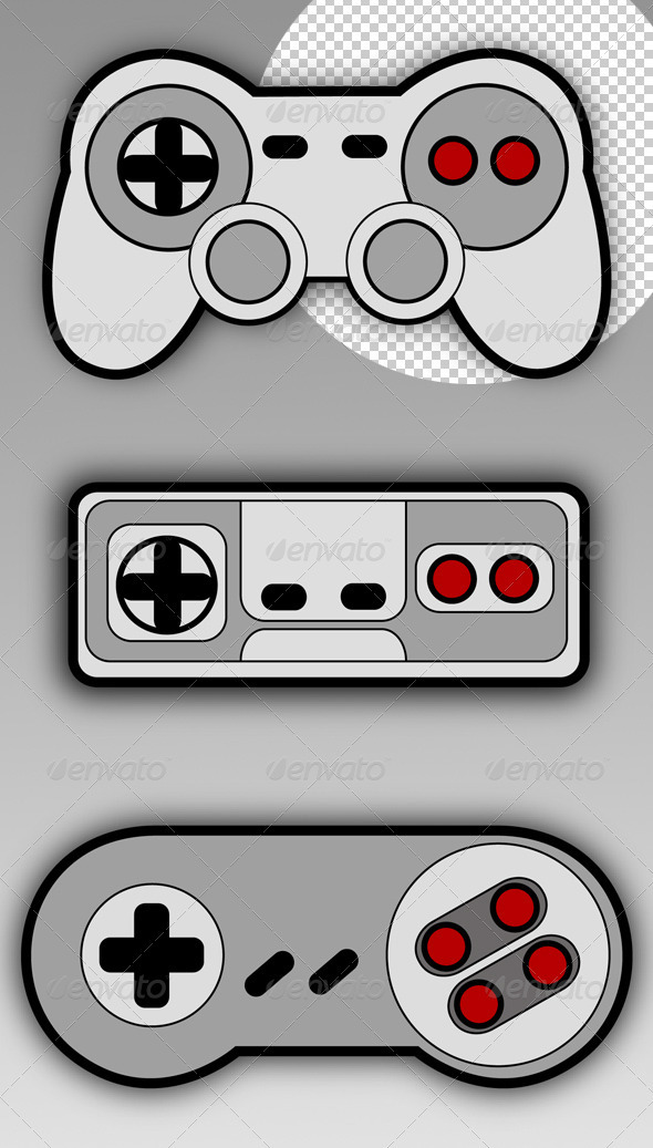 Retro Gamepads - Objects Illustrations