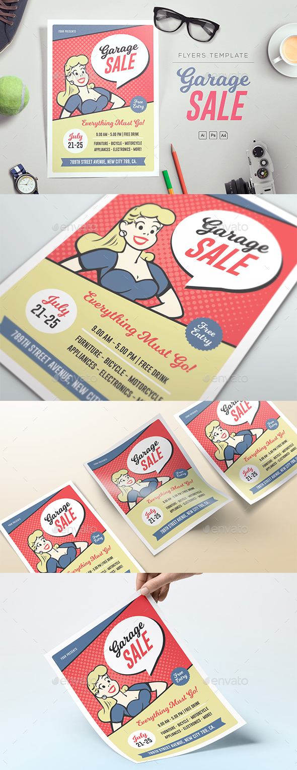 Pop Art Garage Sale Flyers - Commerce Flyers