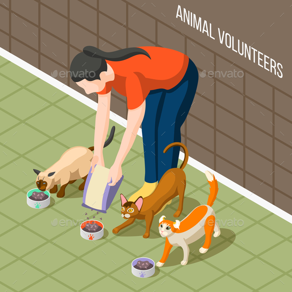 Cats Volunteer Isometric Background - People Characters