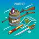 Pirate Set Isometric Game Background