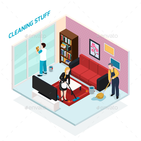 Home Staff Isometric Design Concept   People Characters