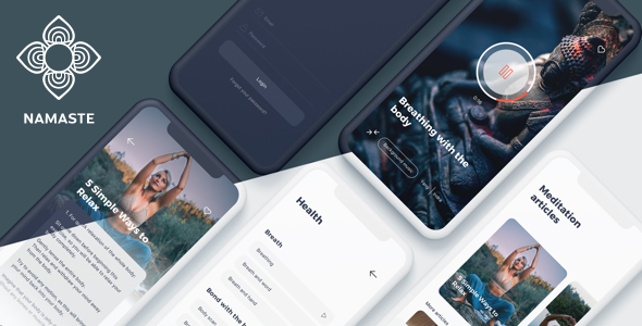 Namaste - Meditation Mobile App Sketch Template - Sketch Templates