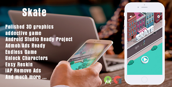 Skate + Android Studio Project + Buildbox Project + Easy to Reskin - CodeCanyon Item for Sale