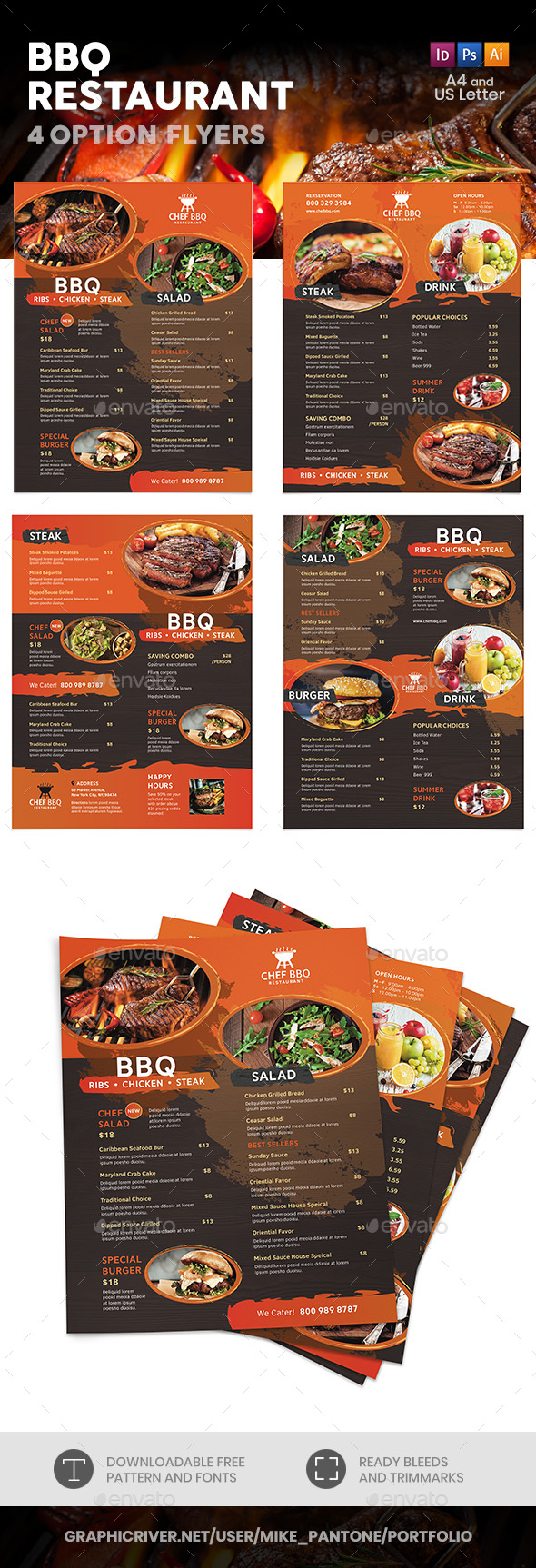 BBQ Restaurant Menu Flyers – 4 Options - Food Menus Print Templates