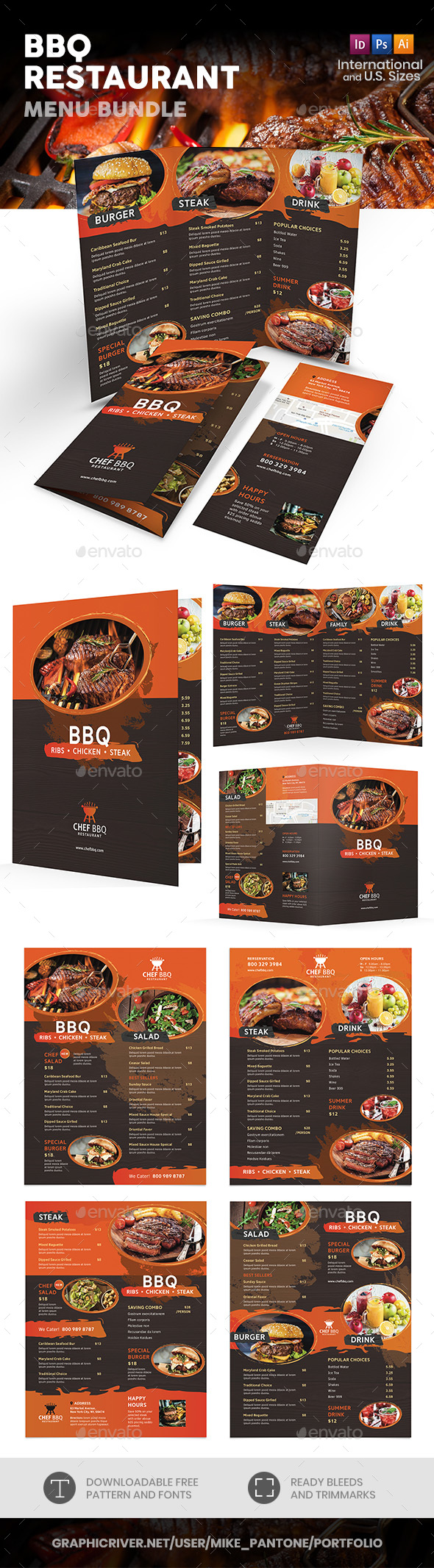 BBQ Restaurant Print Bundle - Food Menus Print Templates