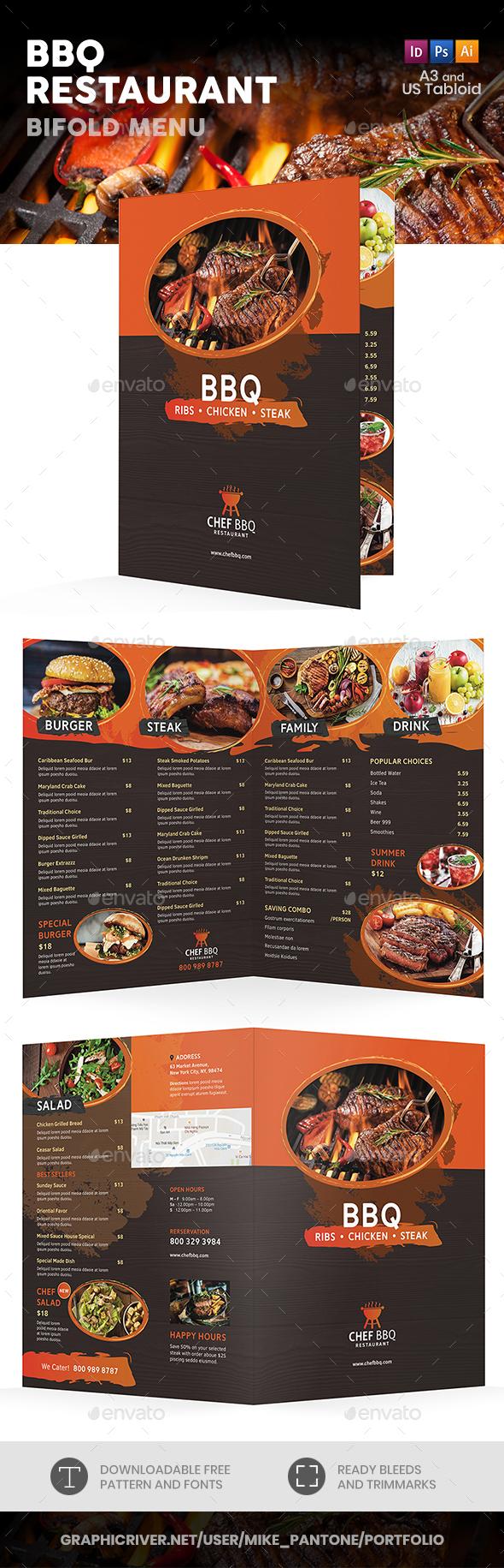 BBQ Restaurant Bifold / Halffold Menu - Food Menus Print Templates