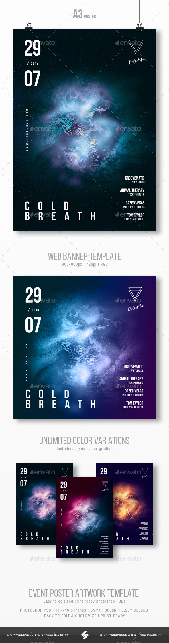 Cold Breath - Progressive Party Flyer / Poster Template A3 - Clubs & Parties Events