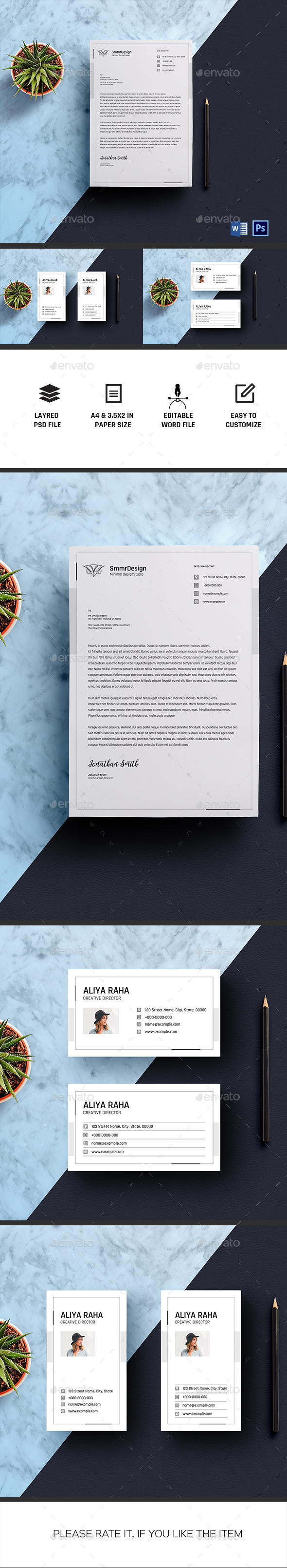 Letterhead with Business Card - Stationery Print Templates