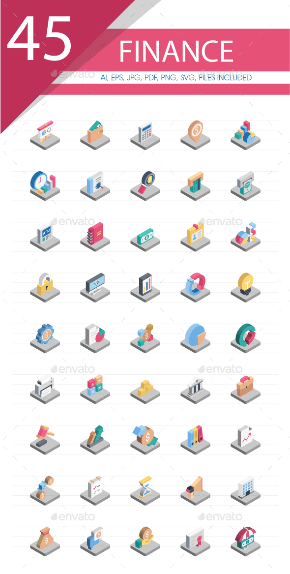 50 Finance Isometric Icons Pack - Business Icons