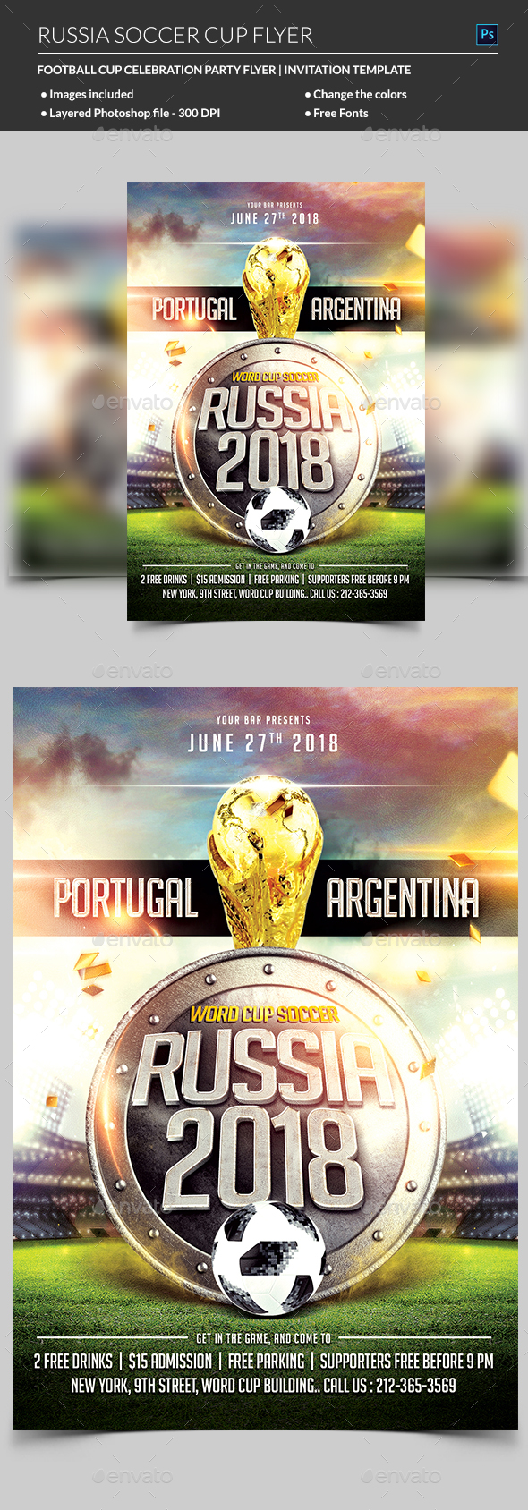 Russia World Cup Soccer Flyer - Holidays Events