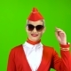 Stewardess in a Red Suit Takes Off Her Sunglasses. Green Screen - VideoHive Item for Sale