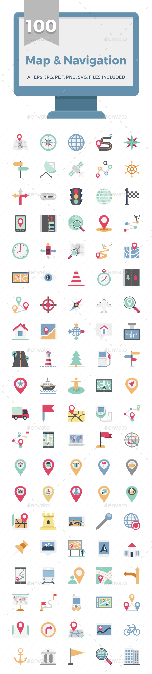 100 Map and Navigation Color Vector Icons Set - Icons