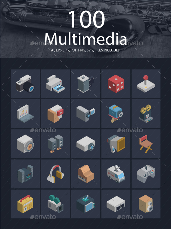 25 Multimedia Isomeric icons Pack - Media Icons