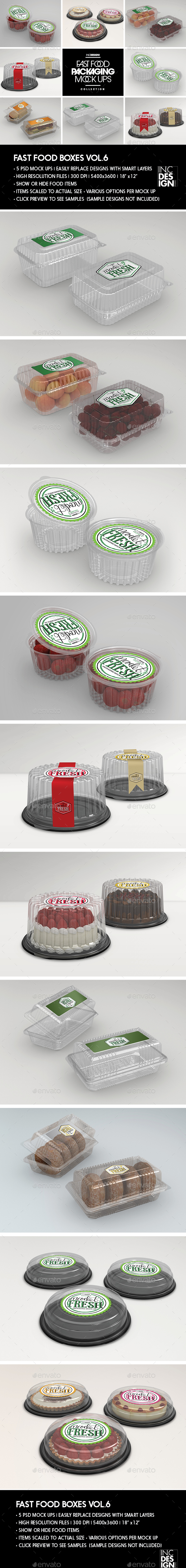 Fast Food Boxes Vol.6:Take Out Packaging Mock Ups - Food and Drink Packaging