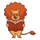Lion with Mane in Glasses Reads Book - GraphicRiver Item for Sale