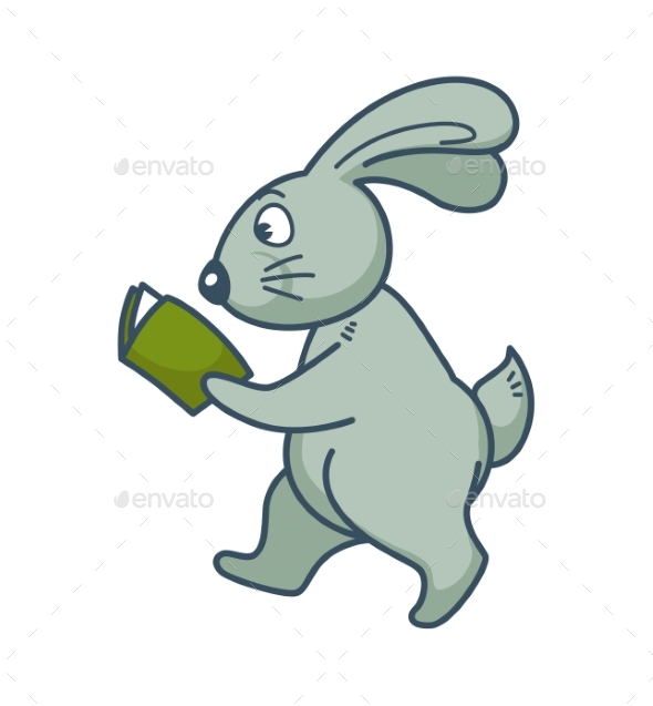 Bunny with Long Ears Walks and Reads Book - Animals Characters
