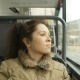 Young Woman on the Bus Looking out the Window - VideoHive Item for Sale