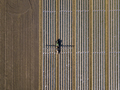 Straight down view of tractor spraying chemical fertilizer or pe - PhotoDune Item for Sale