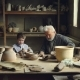 Experienced Craftsman Is Teaching His Grandchild Pottery Art and Making Clay Rolls for Ceramic - VideoHive Item for Sale