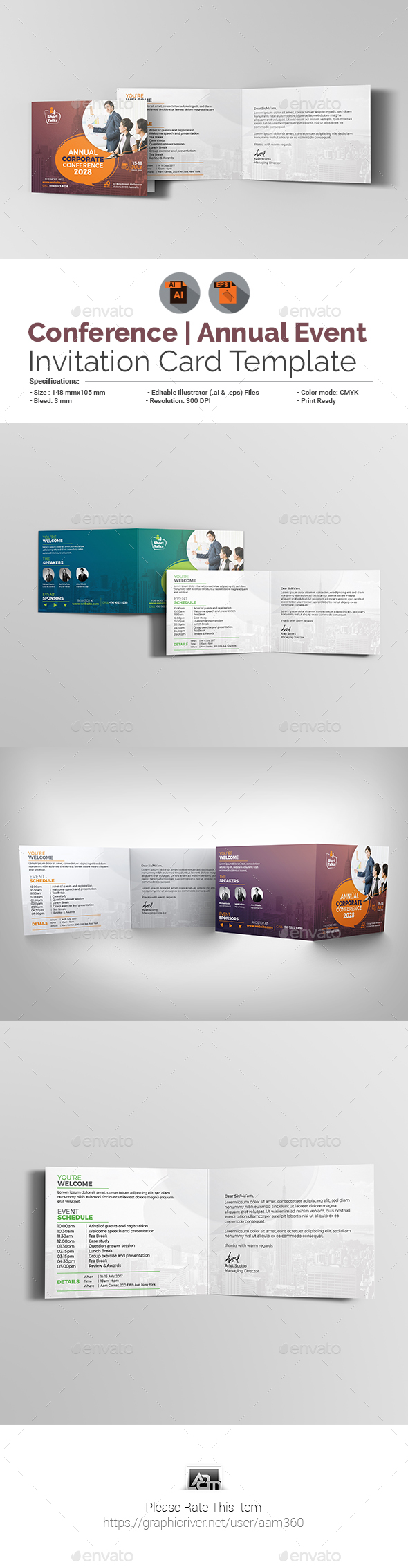Annual Corporate Conference Invitation Card - Cards & Invites Print Templates
