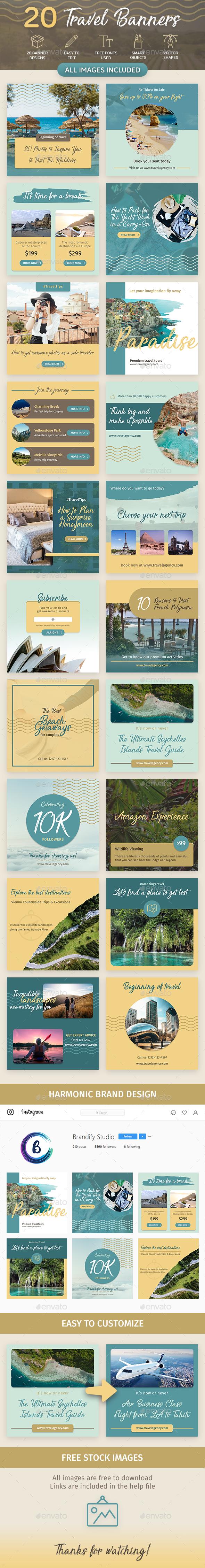 Travel Banners - Social Media Web Elements