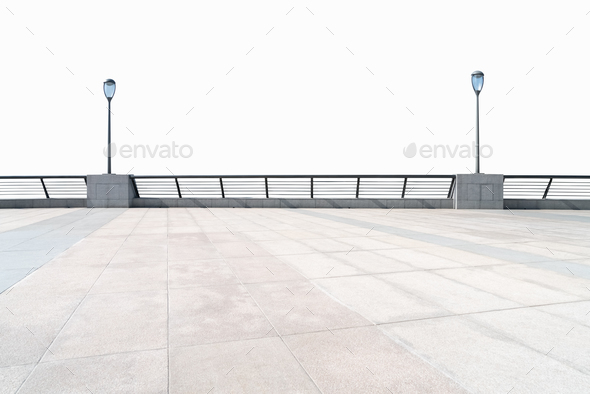empty floor and railings isolated - Stock Photo - Images