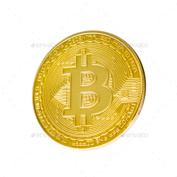 Bitcoin. Physical bit coin. Digital currency. Cryptocurrency. Golden coin with bitcoin symbol - Stock Photo - Images