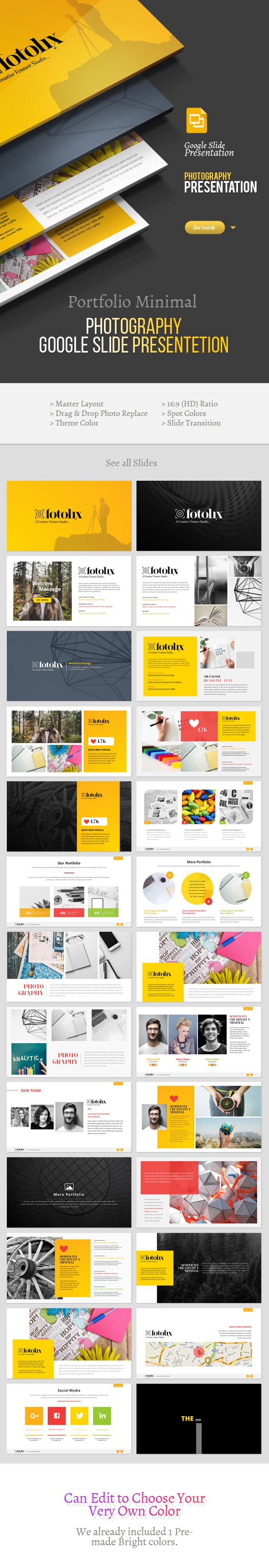 Portfolio & Photography Google Slide Presentation - Google Slides Presentation Templates