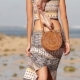 Woman with Fashionable Stylish Nude Rattan Bag on the Beach of Bali - VideoHive Item for Sale