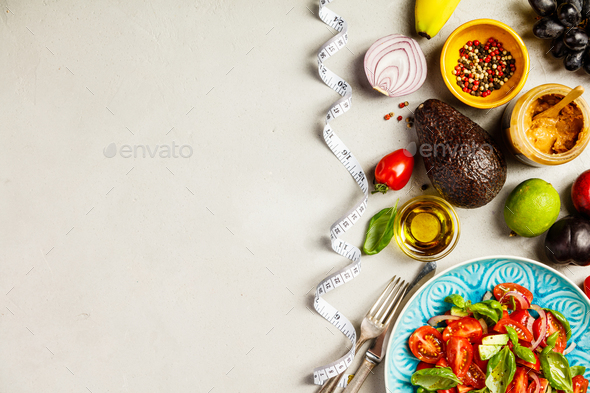 Healthy food and tape measure - Stock Photo - Images