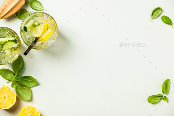 Healthy homemade lemonade or cocktail - Stock Photo - Images
