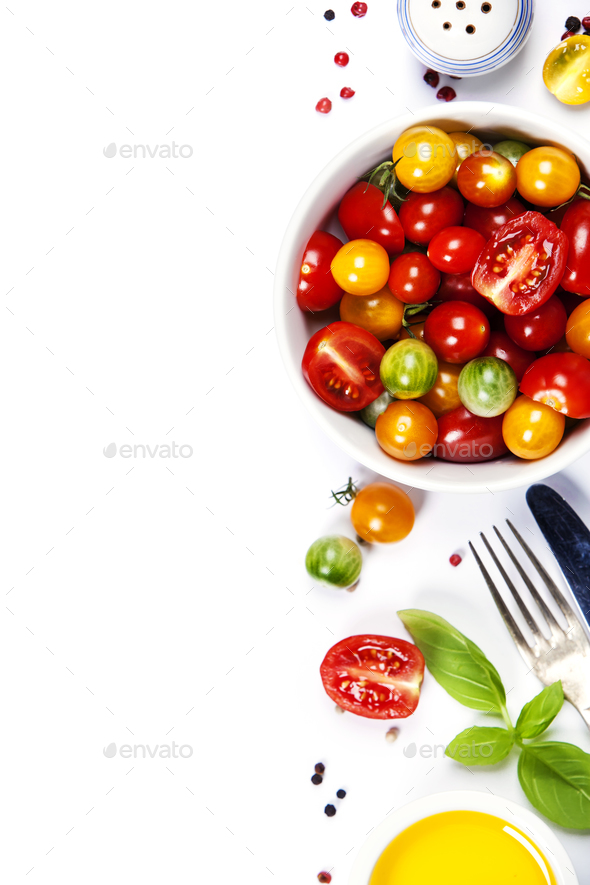 Tomato salad with fresh tomatoes, basil and olive oil - Stock Photo - Images