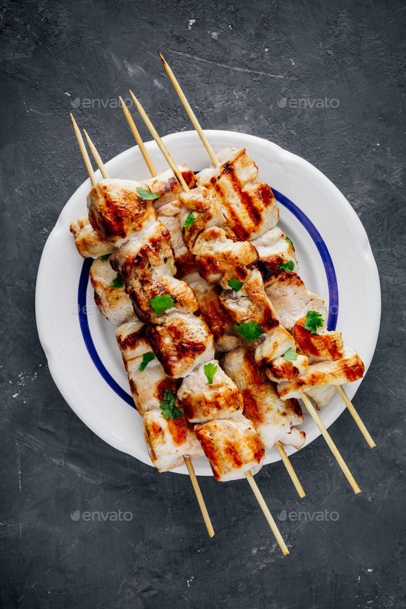Grilled Cilantro Chicken Skewers - Stock Photo - Images