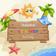 Summer Elements Vacation with Wood Banner - GraphicRiver Item for Sale