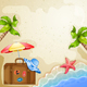 Summer Elements with Vintage Suitcase,Sea and Palm Trees. - GraphicRiver Item for Sale