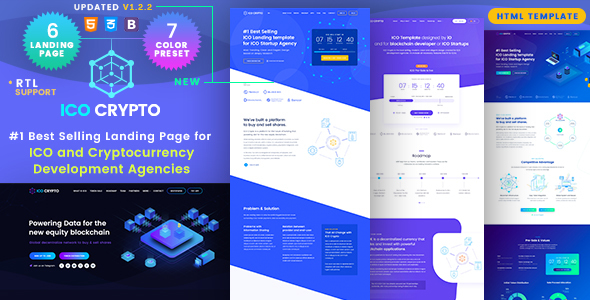 ICO Crypto - Bitcoin & Cryptocurrency Landing Page HTML Template - Technology Site Templates