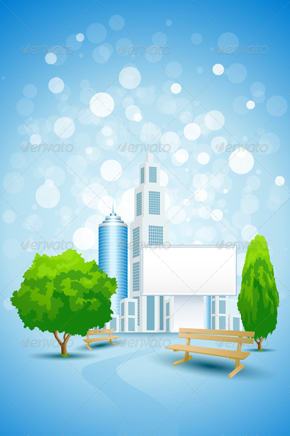 Blue Background with City Landscape and Billboard - Concepts Business